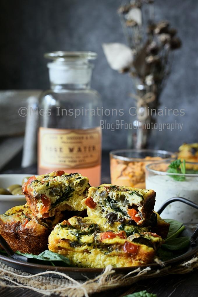 Frittata aux épinards champignons et poivrons rouge