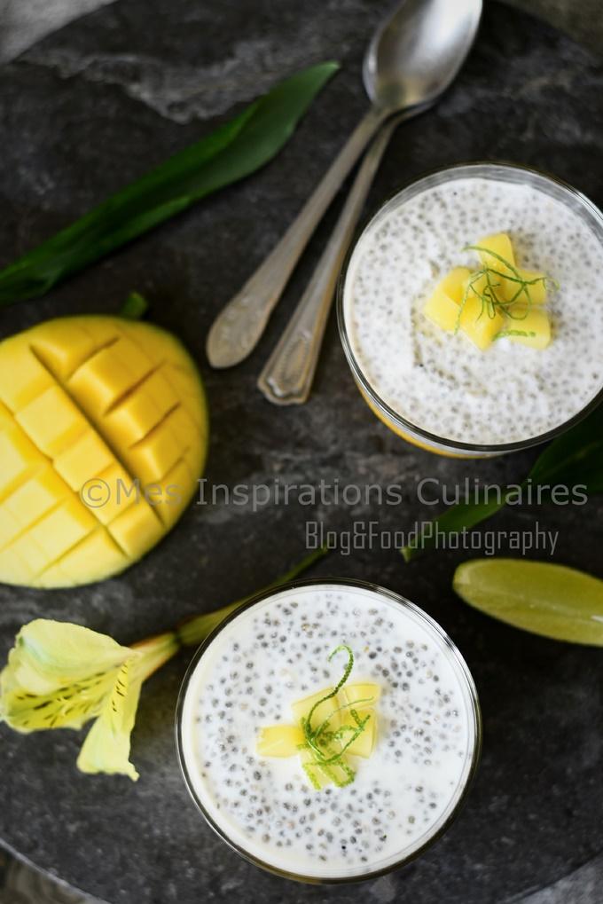 pudding aux graines de Chia lait de coco et mangue