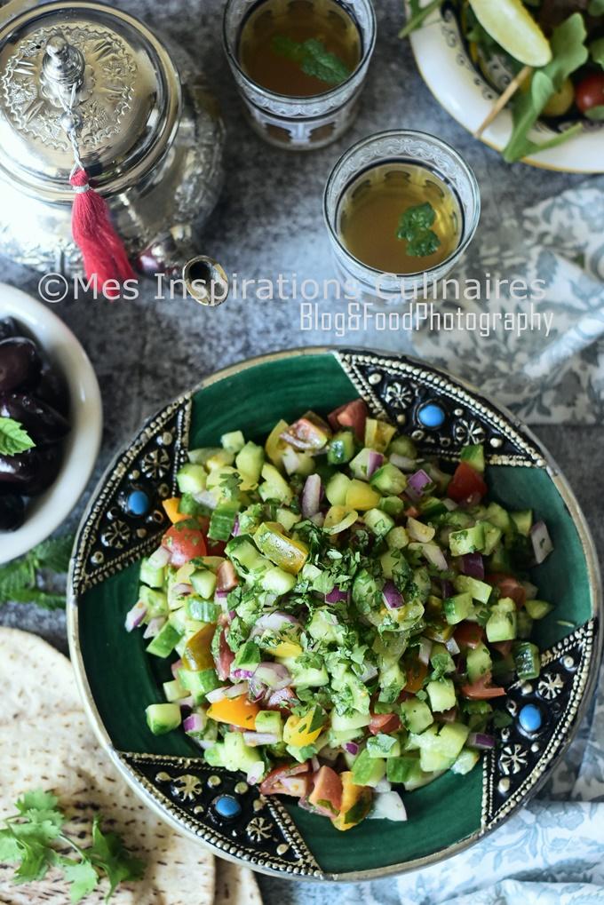 Salade marocaine de tomate et concombres