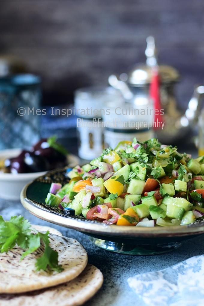 Salade marocaine de tomate et concombres Chlada