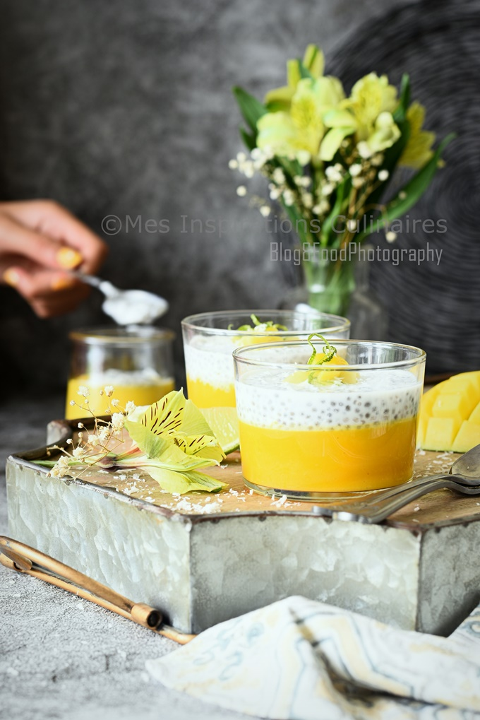 Pudding chia et lait de coco mangue