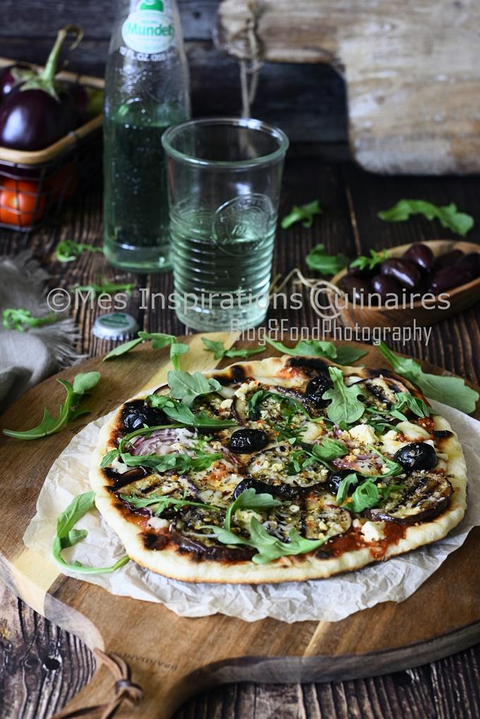 Recette Pate à Pizza à la poêle aux aubergines rôties