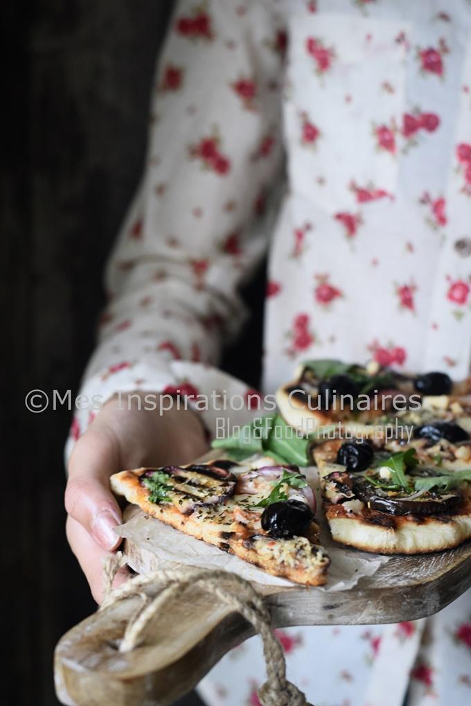 Recette Pate à Pizza à la poêle aux aubergines et Mozzarella