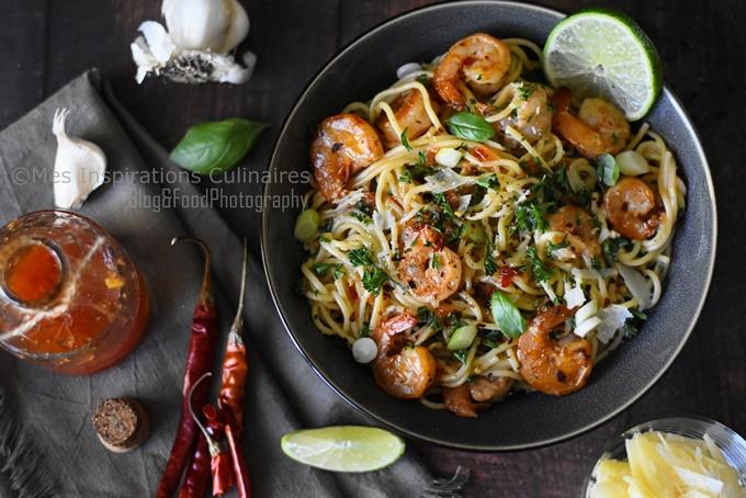 Spaghetti aux crevettes sauce Thaï (Crevettes Bang Bang)