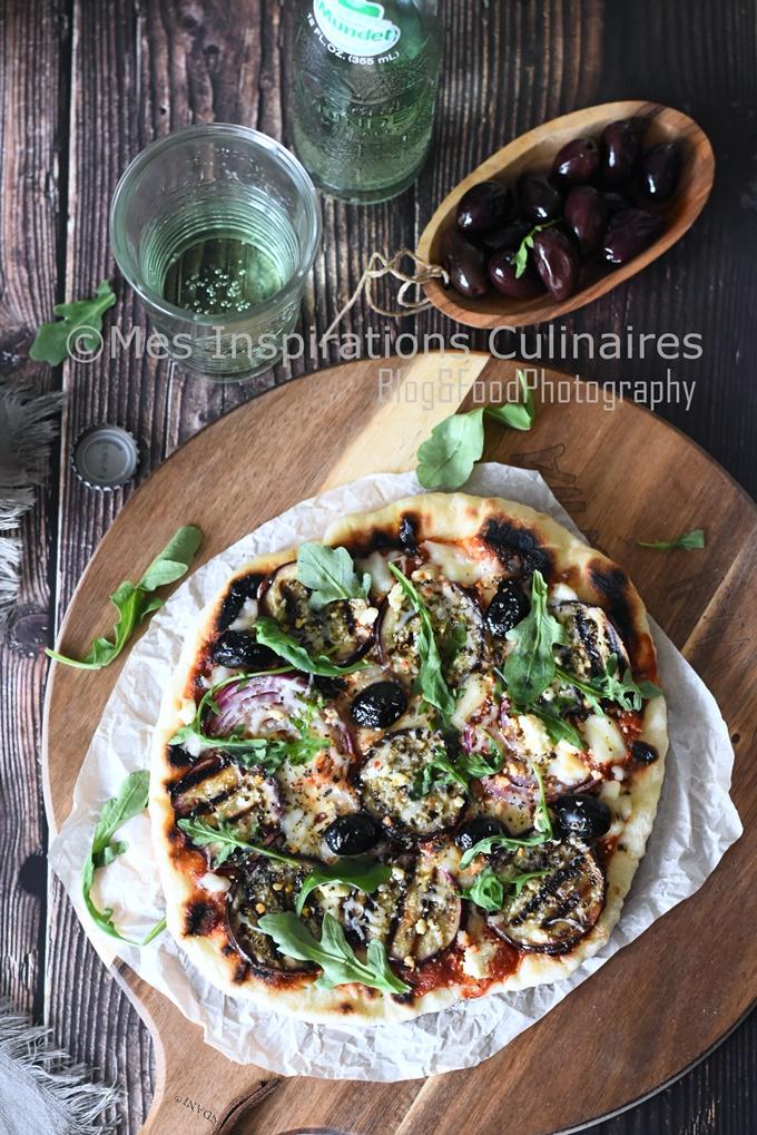 Recette Pizza à la poêle aux aubergines rôties