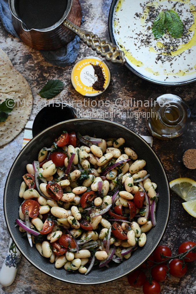 Salade haricots blancs tomate et oignons salade turque