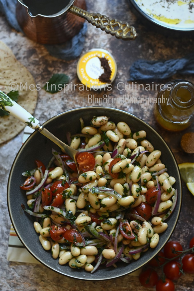 Salade haricots blancs tomate et oignons (Piyaz)