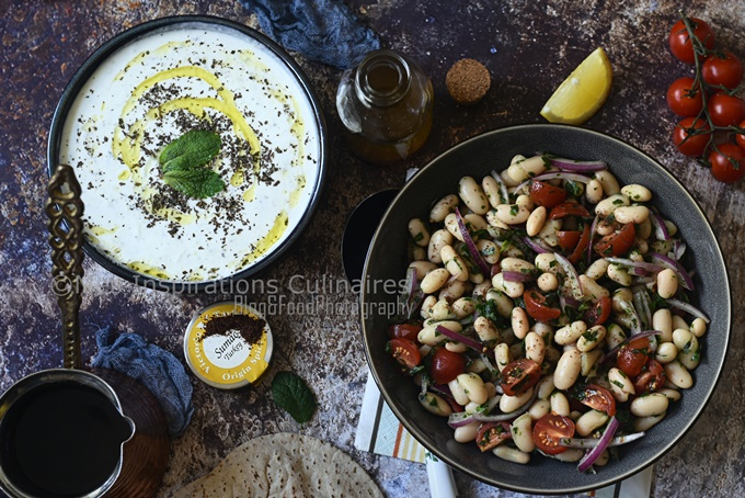 Salade haricots blancs tomate et oignons