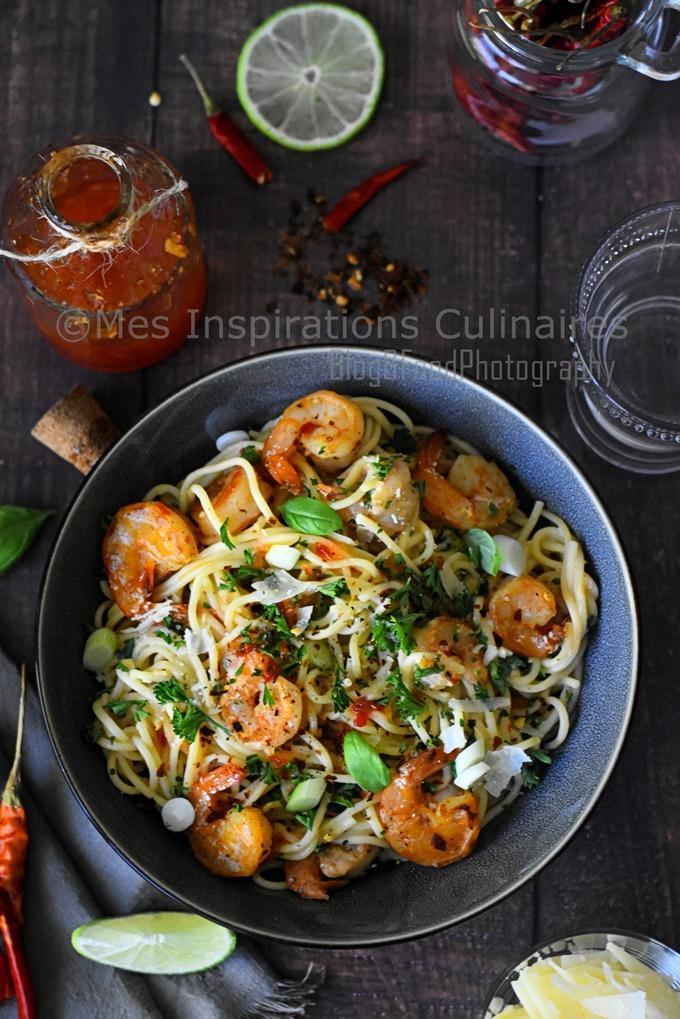 Spaghetti aux crevettes sauce épicée Thaï (Crevettes Bang Bang)
