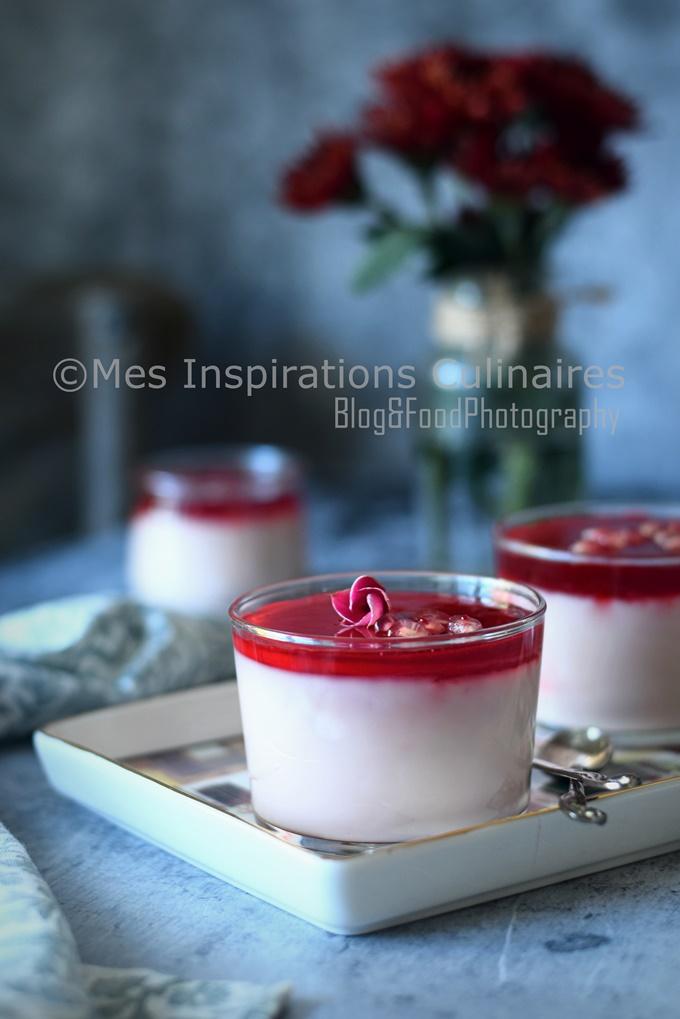 Mahalabiya à la grenade, crème au lait orientale
