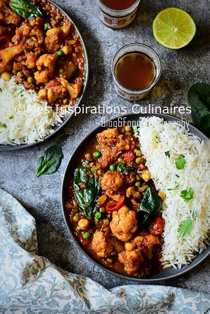 Curry de chou fleur végétarien au lait de coco