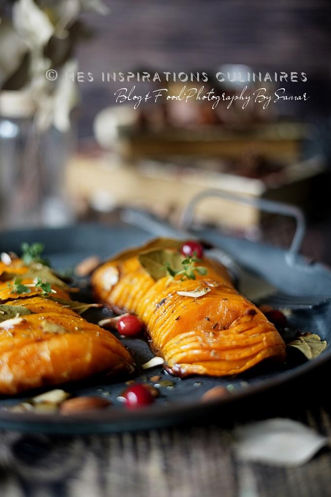 Recette butternut rotie au four au miel et amandes