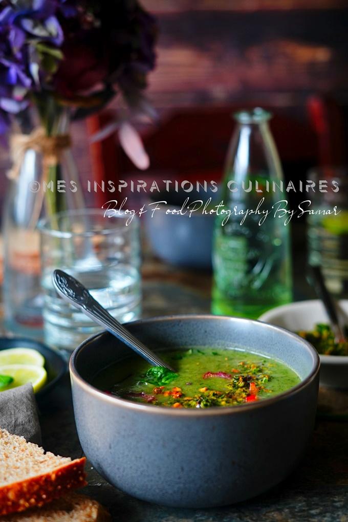 Soupe aux épinards et poireaux