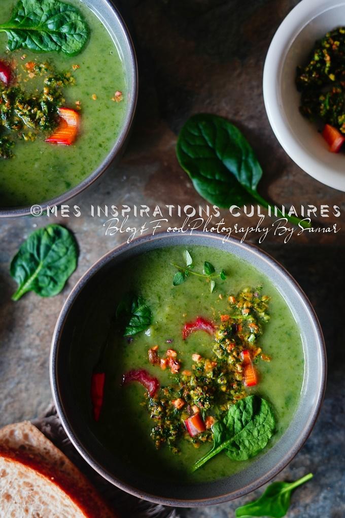Soupe aux épinards, poireaux au gremolata