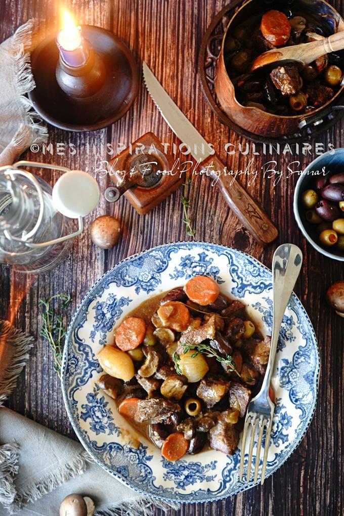 Sauté de veau aux olives et champignons