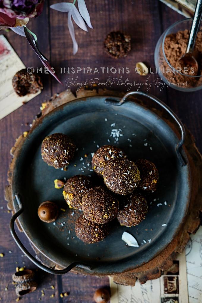 Les energy balls cacao noisettes et dattes