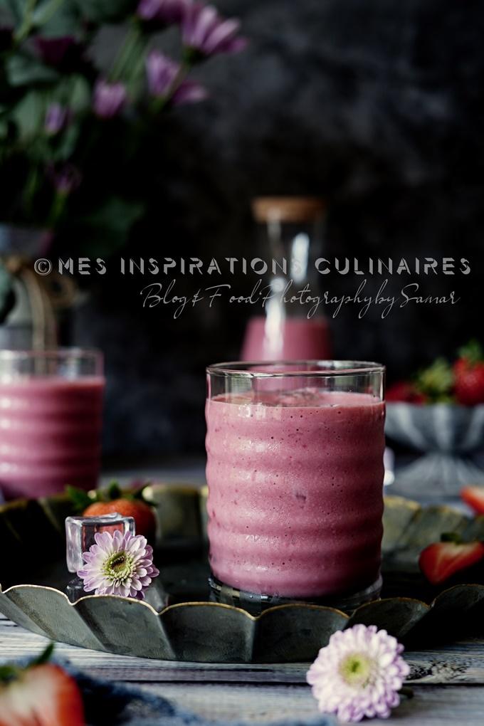 Recette smoothie Fraise framboise et concombre