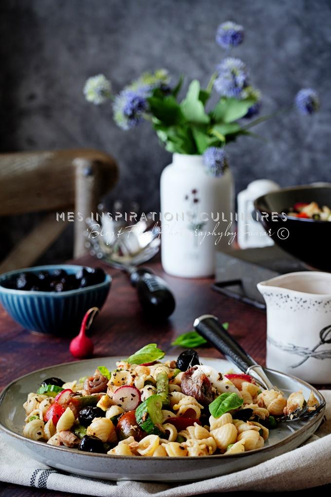 Salade de pates aux radis olives noires