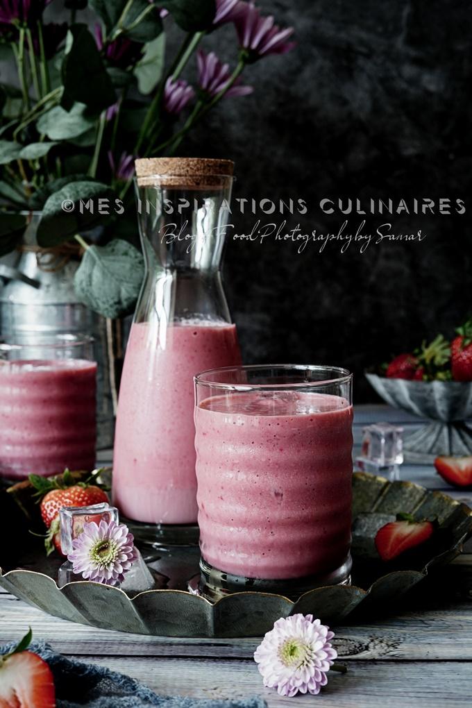 Recette smoothie fraise framboise, concombre et eau de coco