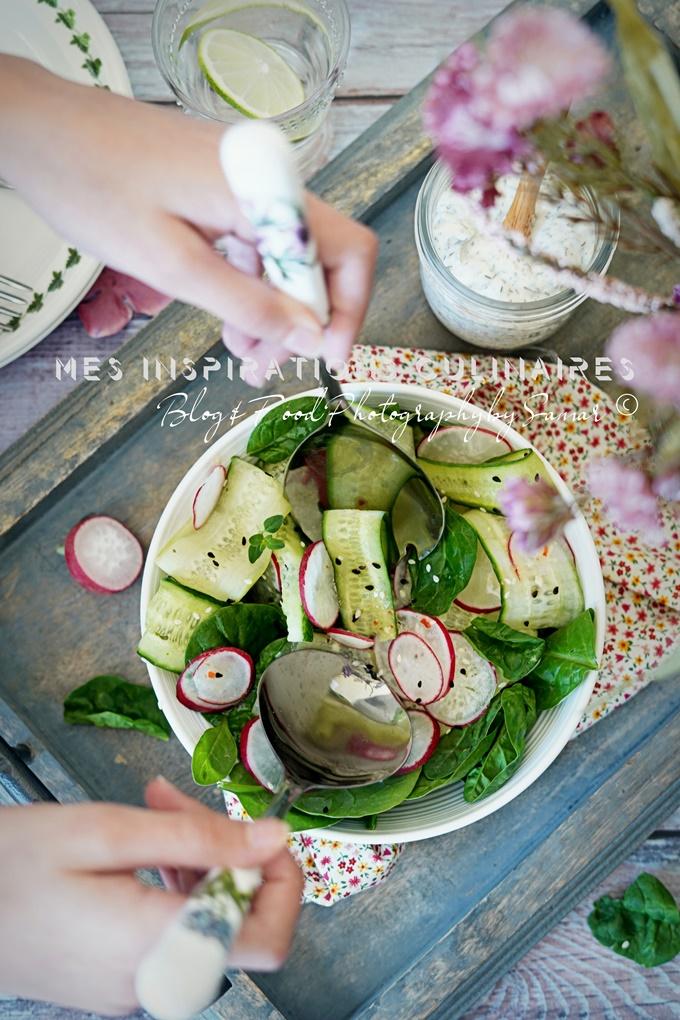 Salade de radis et concombres au sirop d'erable