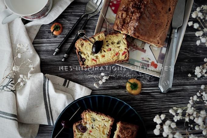 Recette cake aux olives, poivron et bleu
