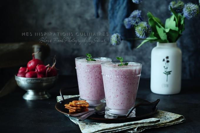Soupe froide de radis rose