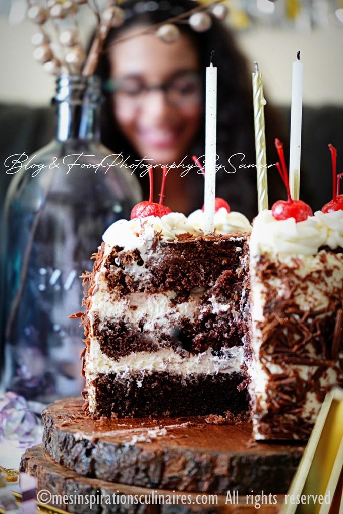 gâteau allemand au chocolat chantilly et cerise
