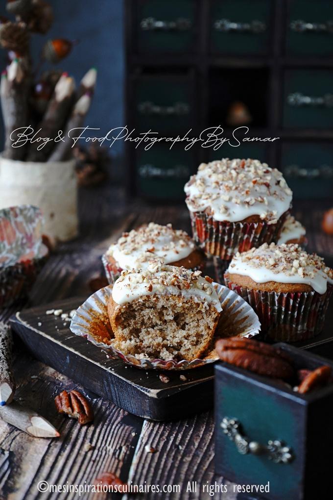 muffins banana bread et chocolat et noix de pecan