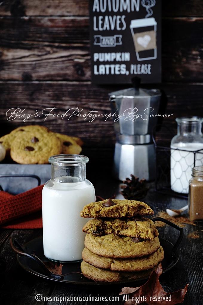 Les biscuits a la puree de pumpkin et pépites de chocolat