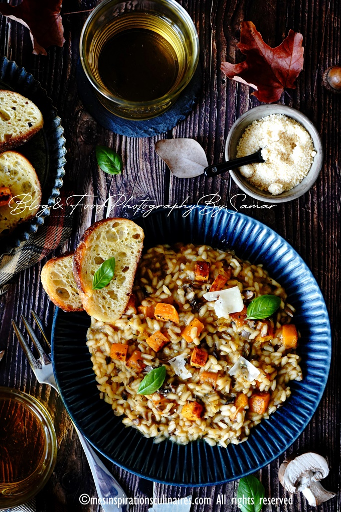 Recette risotto potimarron et champignons cremeux