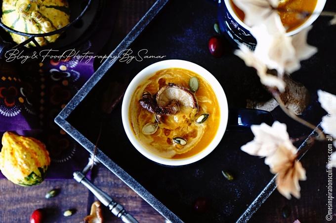 Potage au potiron, carotte et champignons