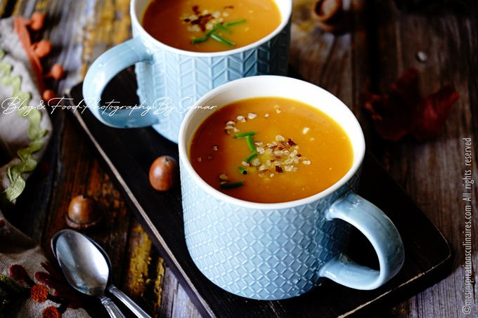 Recette soupe cremeuse de potimarron au lait de coco et sirop d'érable