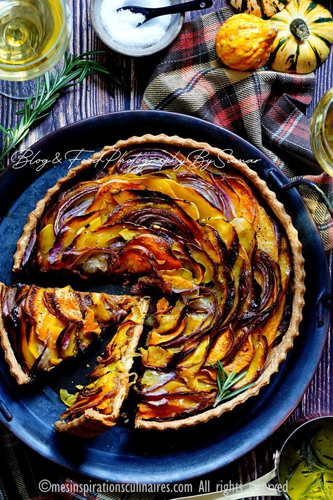 Recette tarte butternut aux oignons caramélisés