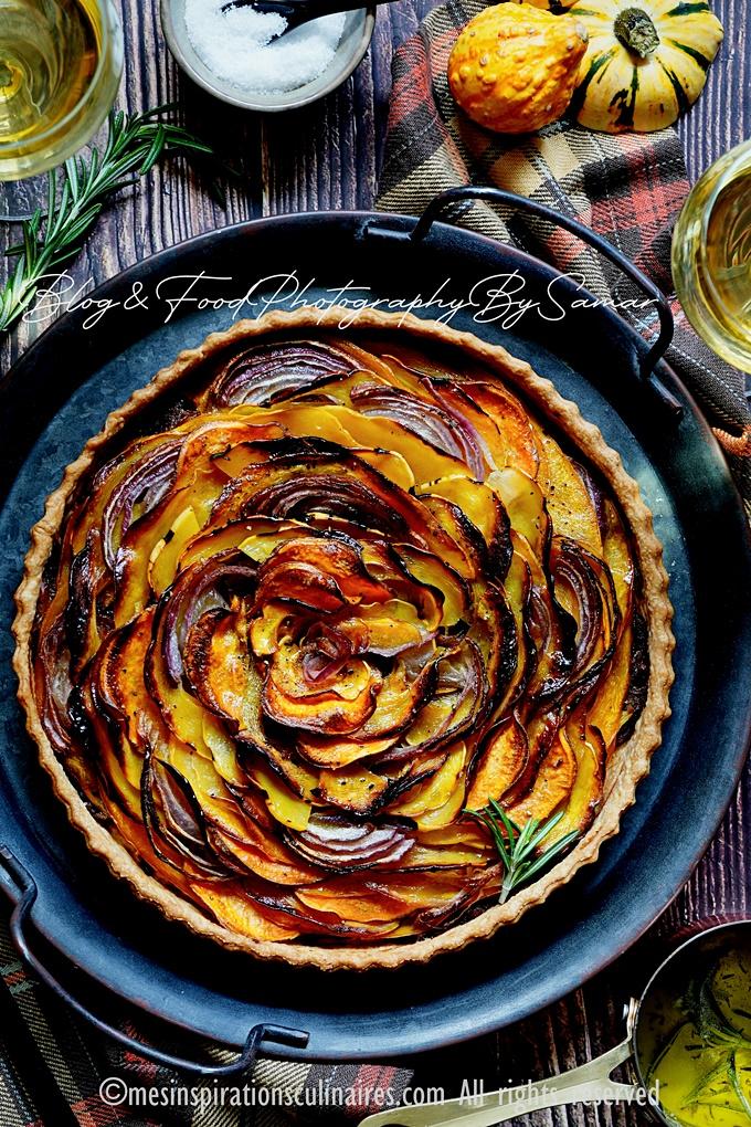 Tarte butternut, patate douce et oignons caramélisés