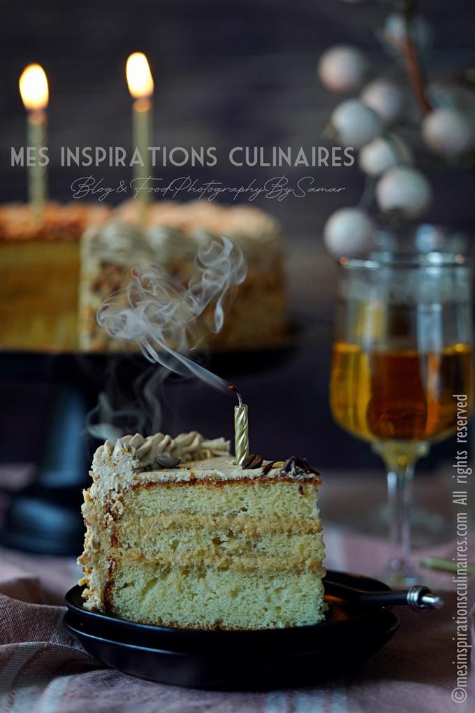 Layer cake d'anniversaire au café