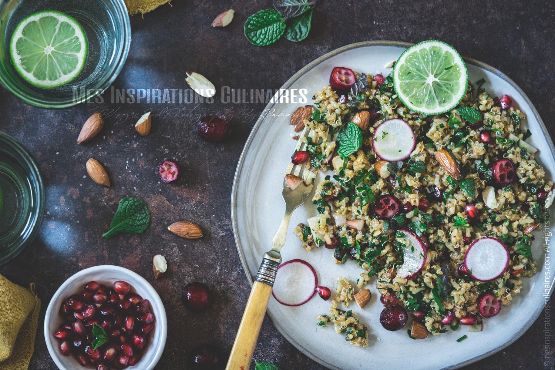 Salade de quinoa, riz brun et menthe
