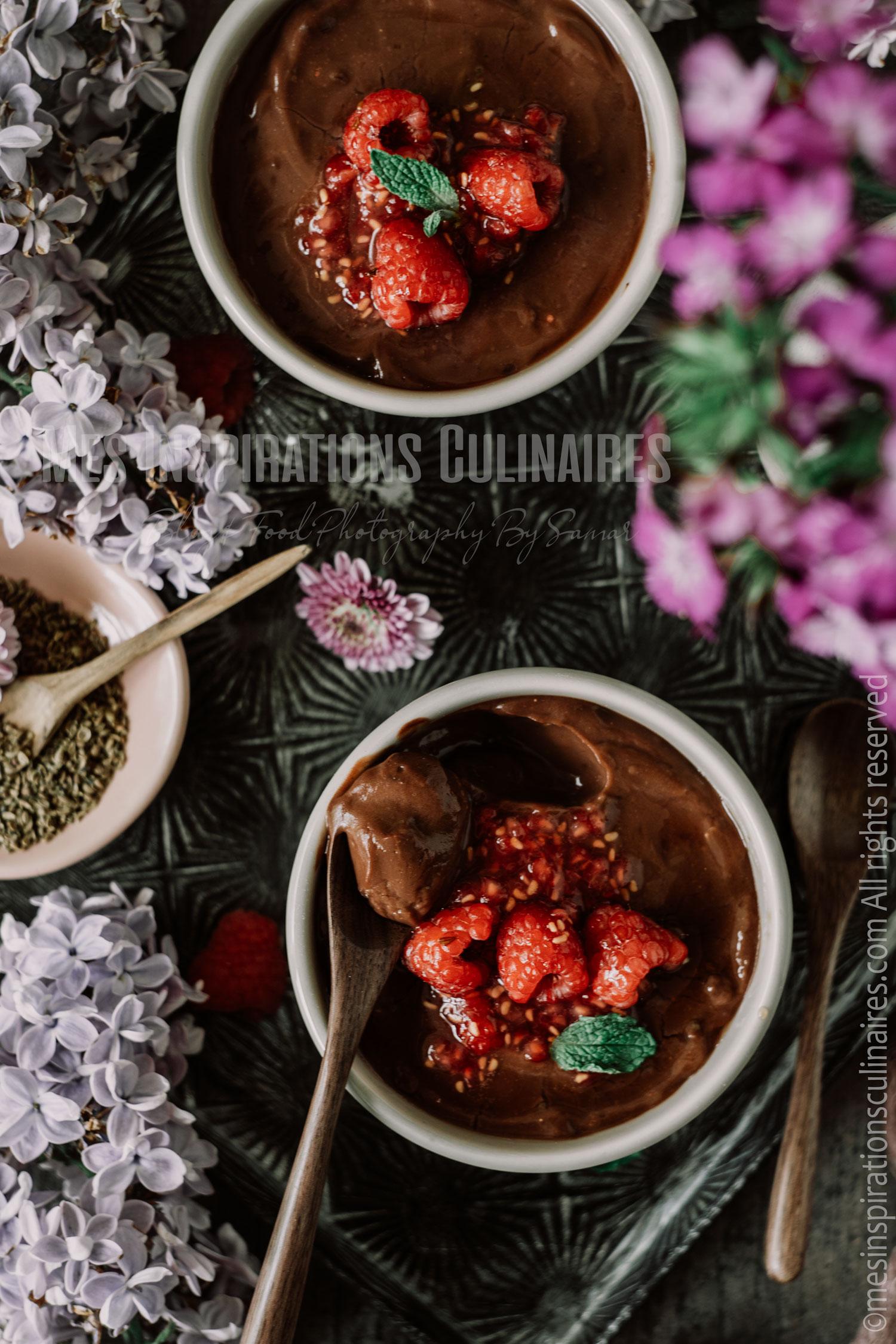 Crème au chocolat et framboise de Cyril Lignac