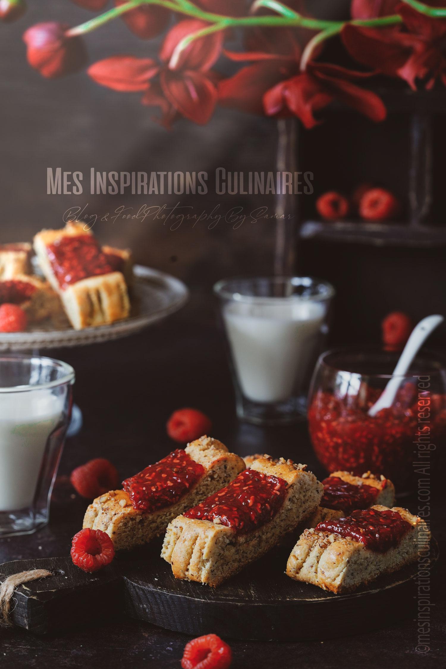 Biscuits sans gluten et sans sucre a la confiture de framboise et chia