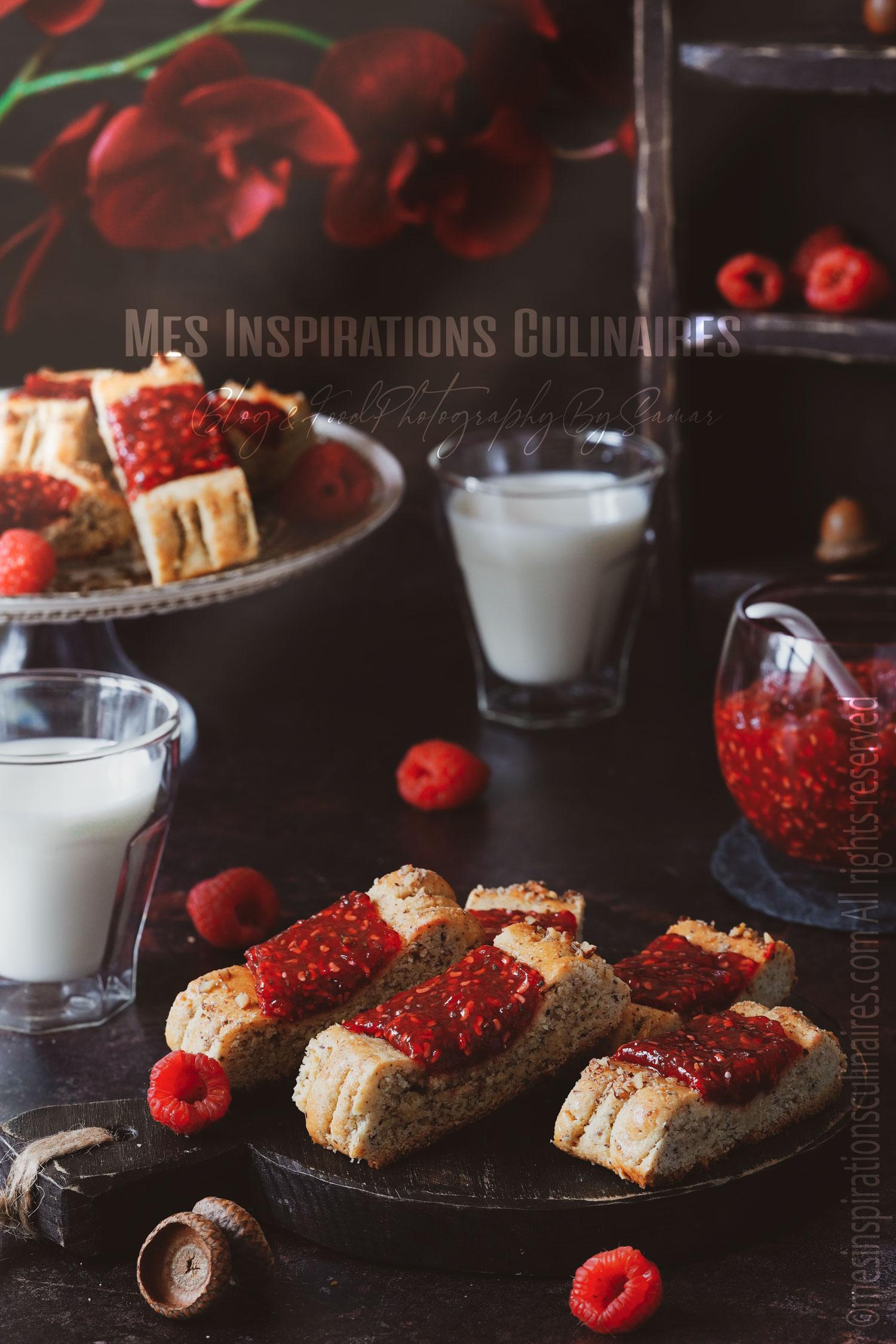 Biscuits sans gluten a la confiture de framboise et chia