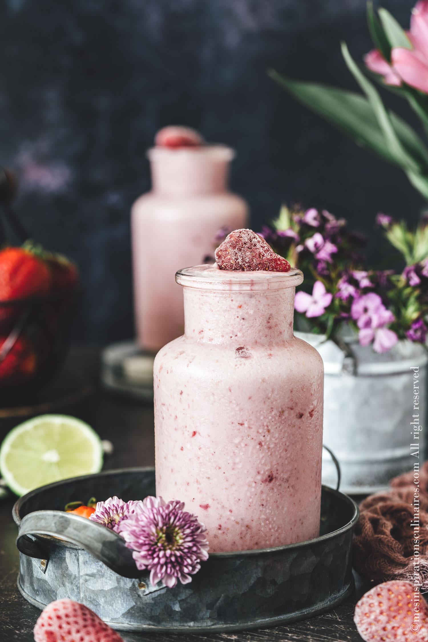 Smoothie fraises surgelees rhubarbe, recette facile