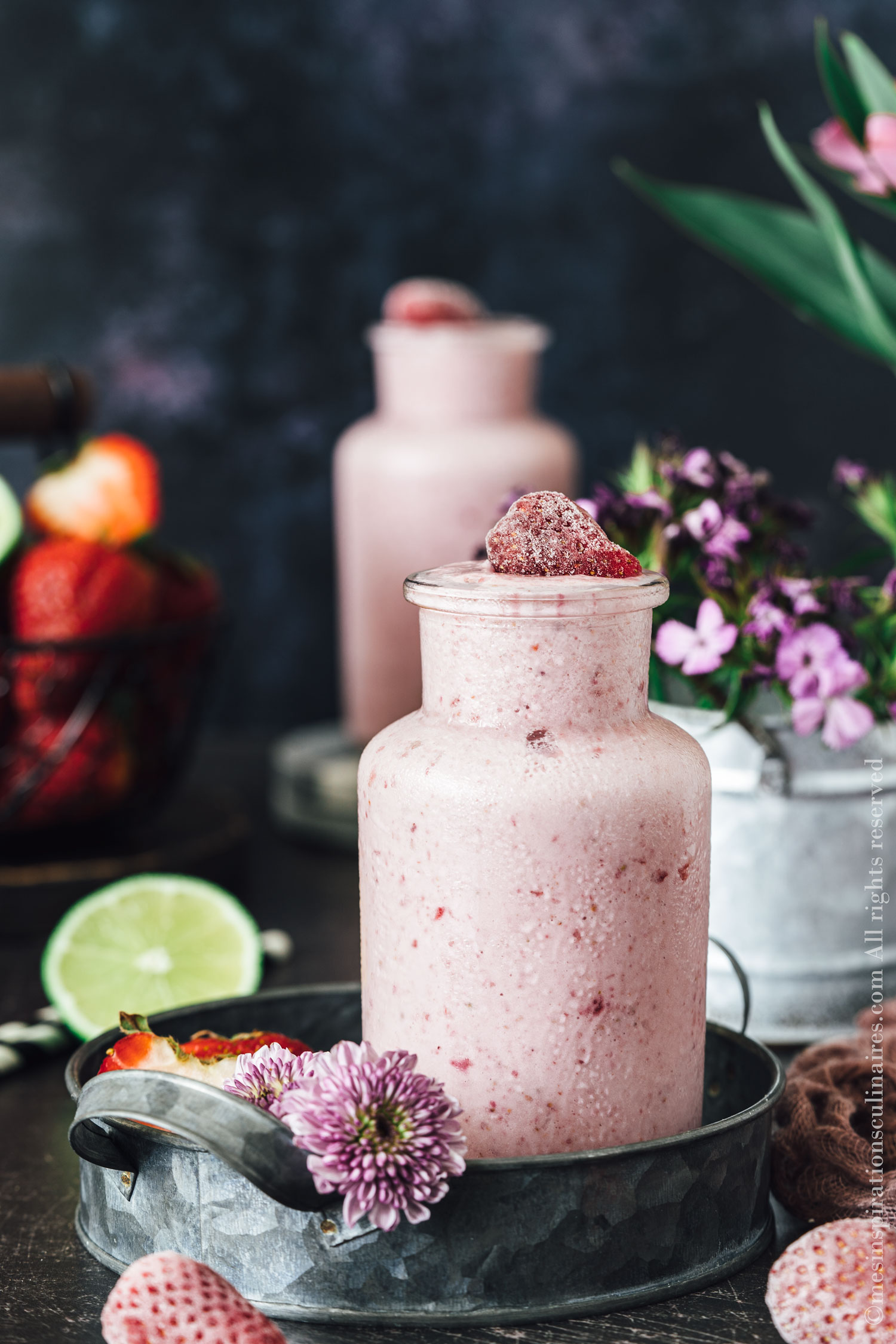 Smoothie fraise rhubarbe, recette facile