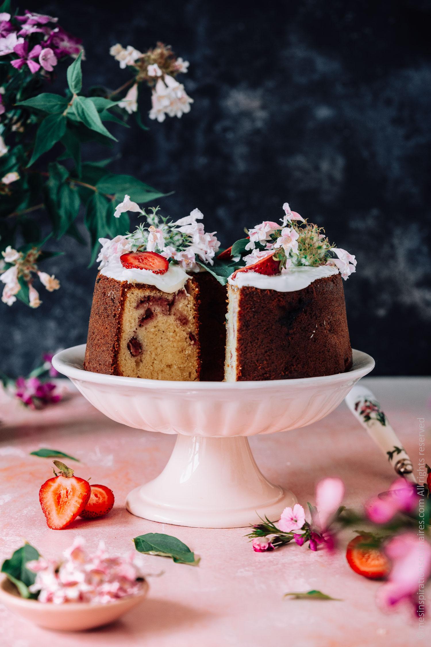 Cake chocolat blanc et fraises