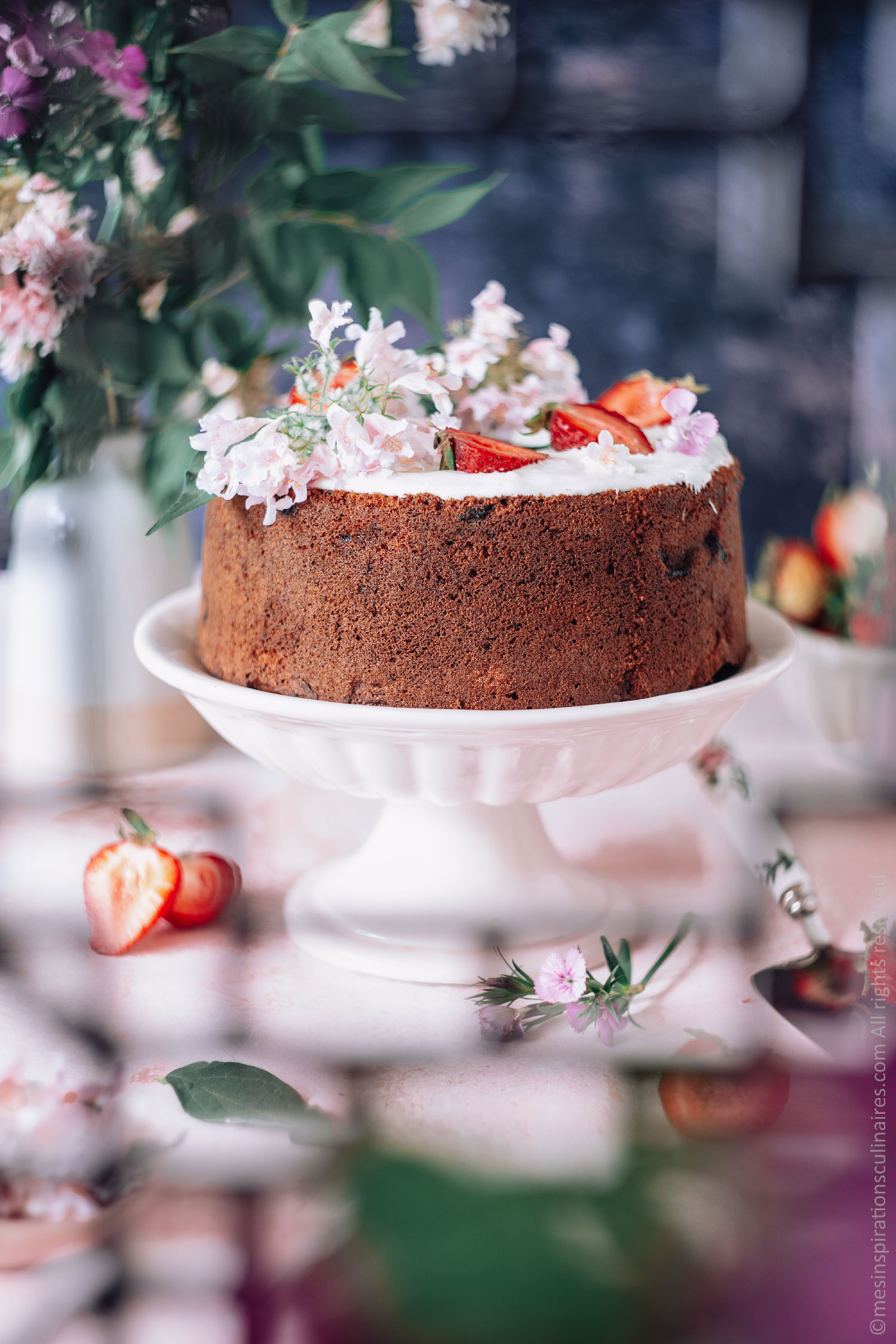 Cake au chocolat blanc et fraises