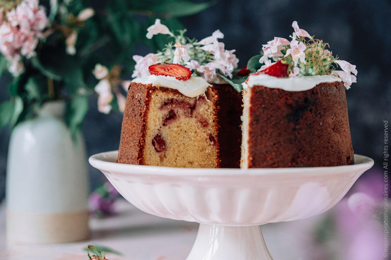 Gâteau au chocolat blanc aux fraises