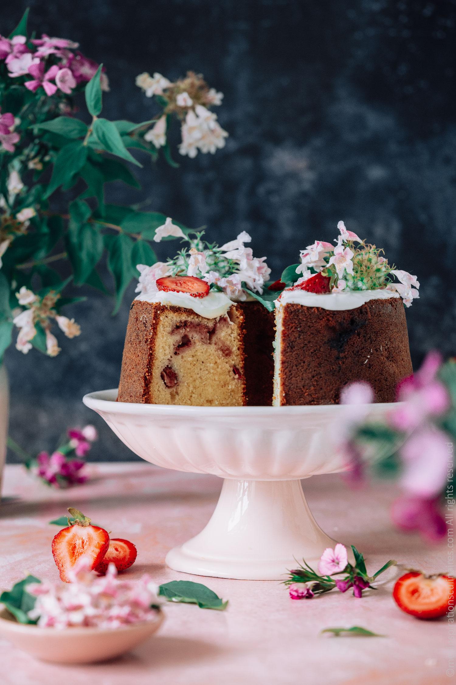 Gâteau chocolat blanc aux fraises