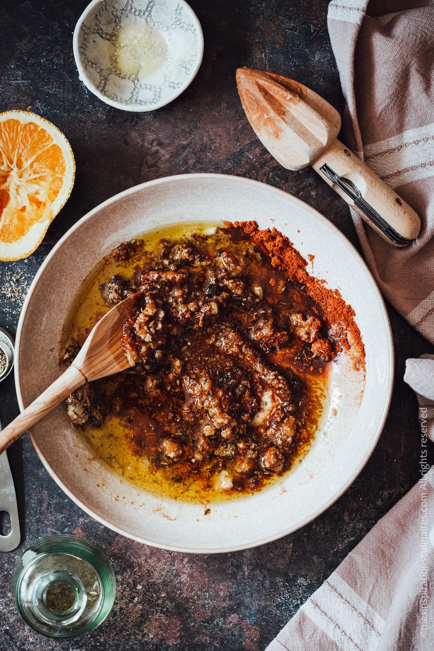 melanger les ingredients de la marinade