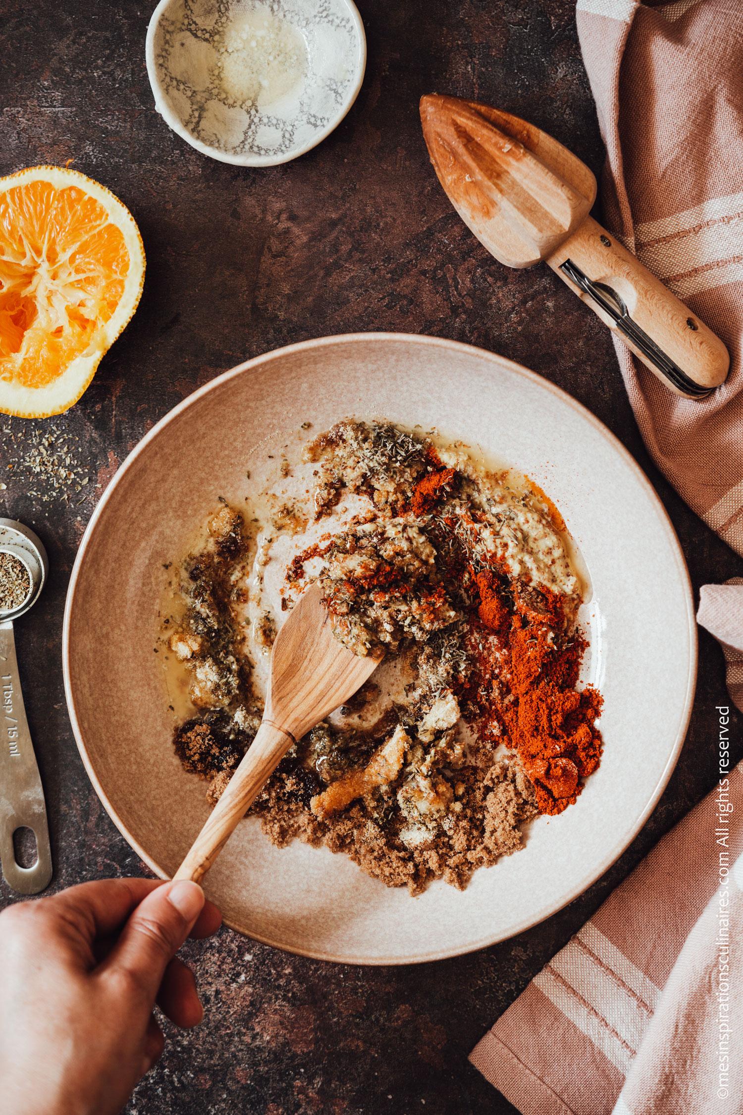 incorporer les ingrédients de la marinade