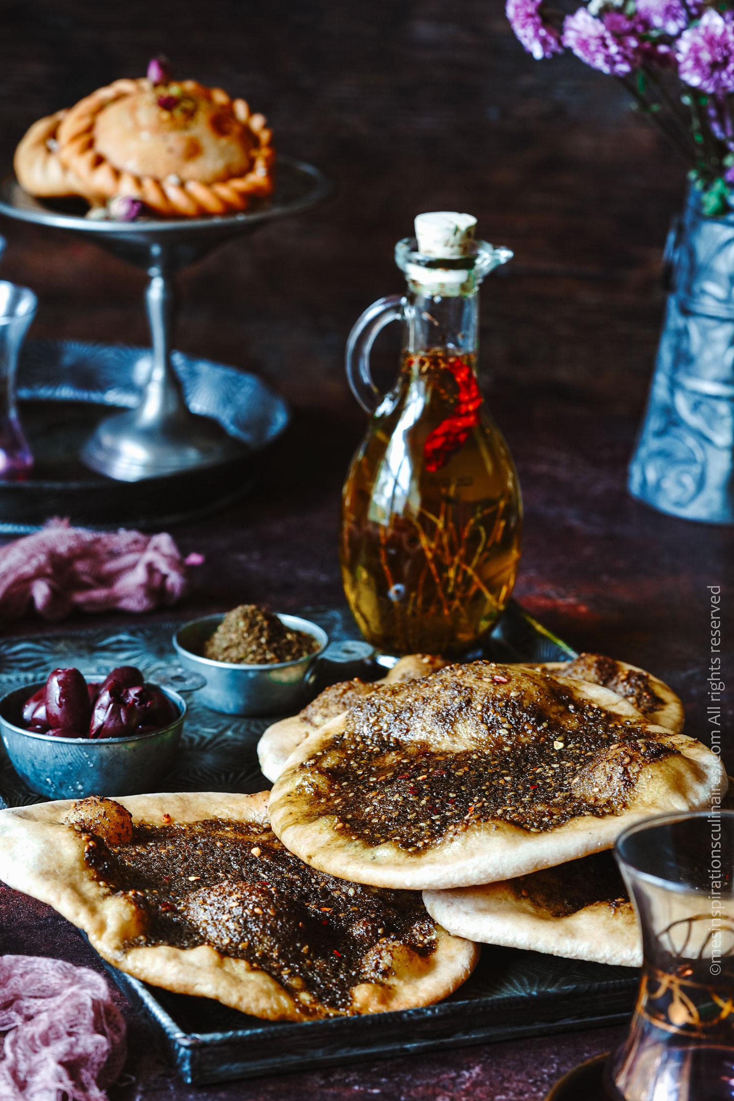 Pain libanais aux épices Za'atar (Man'oushe)