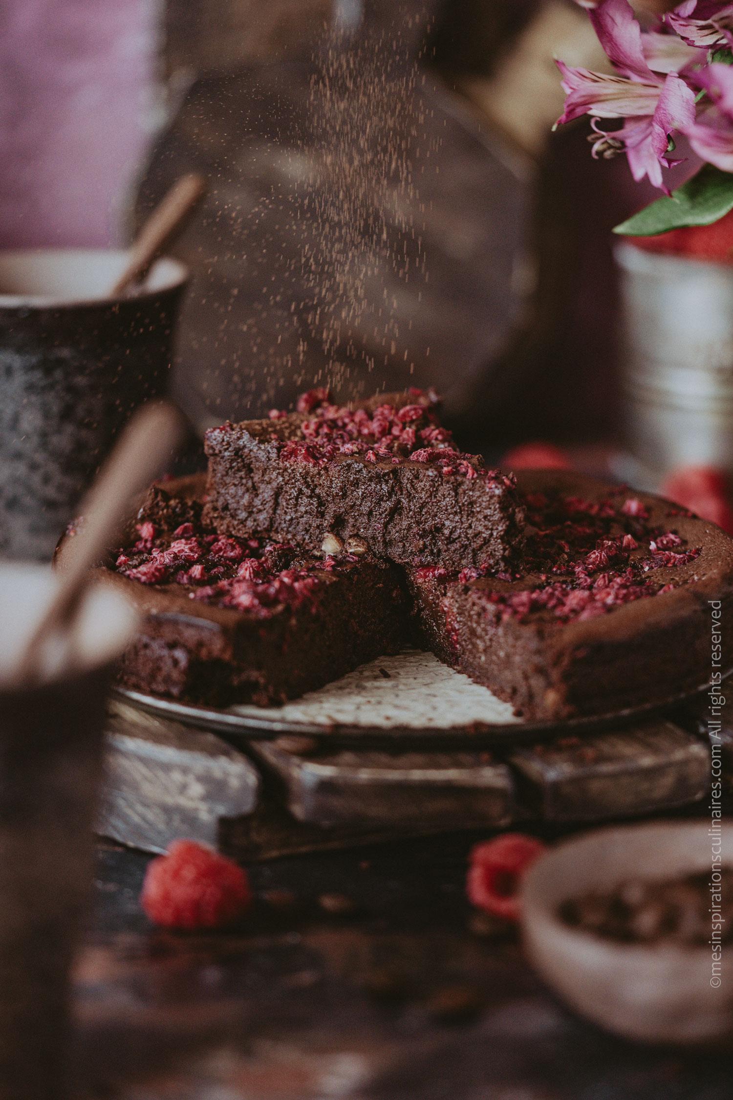gâteau moelleux chocolat et framboises surgelees