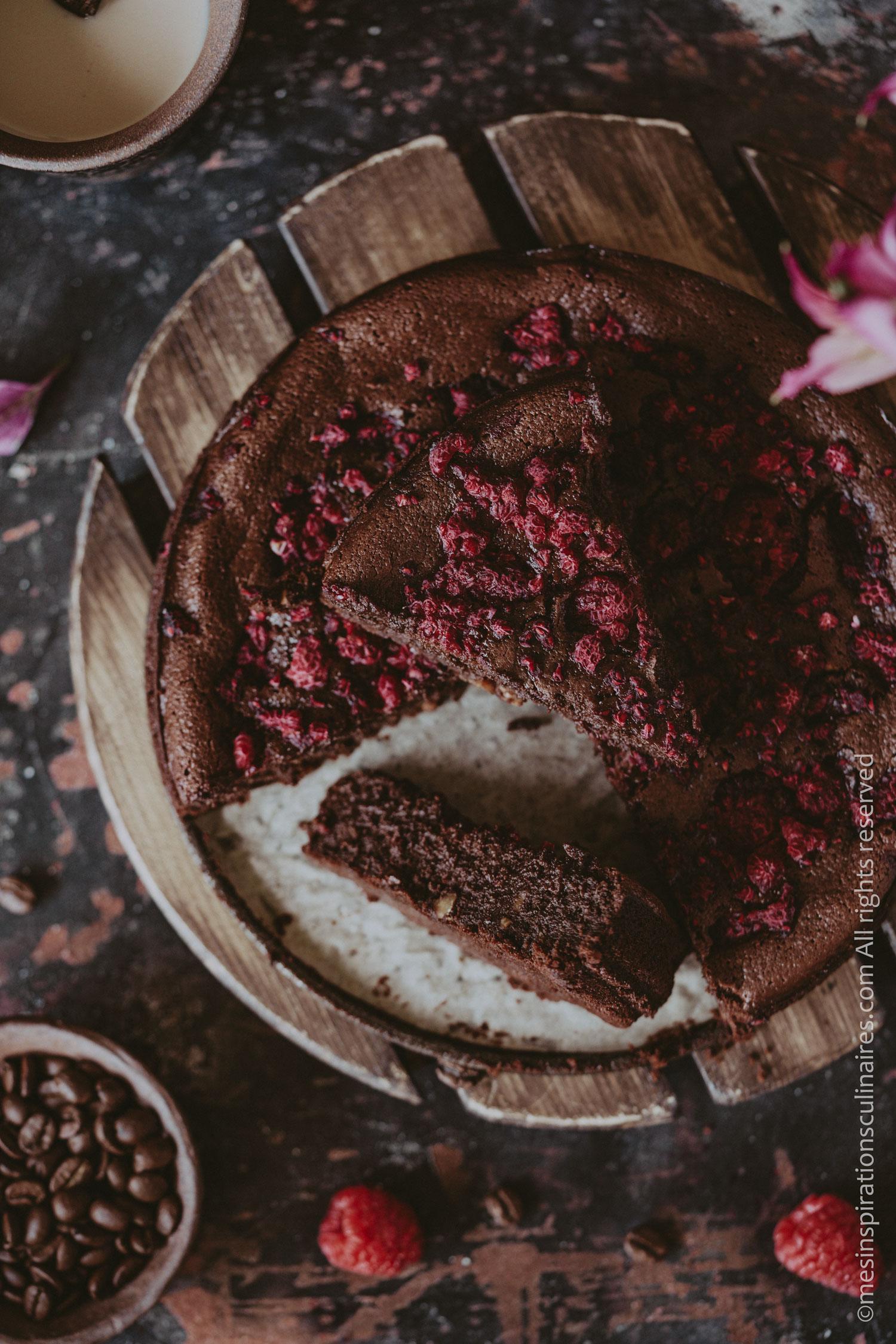 Gâteau au chocolat et framboises (recette sans gluten)